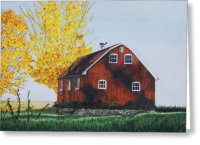 Best Sellers -  - Weathervane Greeting Cards - New Hartford Barn Greeting Card by Sharon Farber