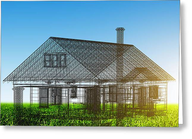 New Concepts Greeting Cards - New house wireframe project on green field Greeting Card by Michal Bednarek