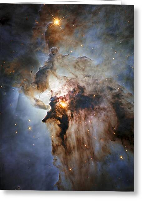 Office Space Greeting Cards - New Hubble view of the Lagoon Nebula Greeting Card by Adam Romanowicz