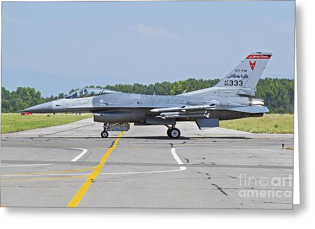 Jet Star Greeting Cards - New Jersey Air National Guard F-16c Greeting Card by Daniele Faccioli
