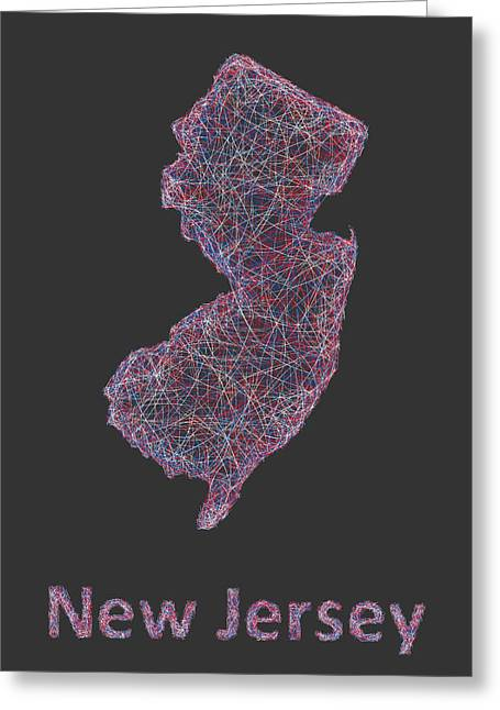 New Jersey Greeting Cards - New Jersey map Greeting Card by David Zydd