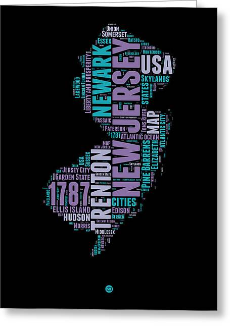New Jersey Greeting Cards - New Jersey Word Cloud 1 Greeting Card by Naxart Studio