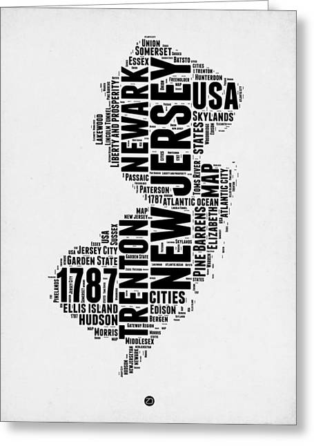 4th July Greeting Cards - New Jersey Word Cloud 2 Greeting Card by Naxart Studio