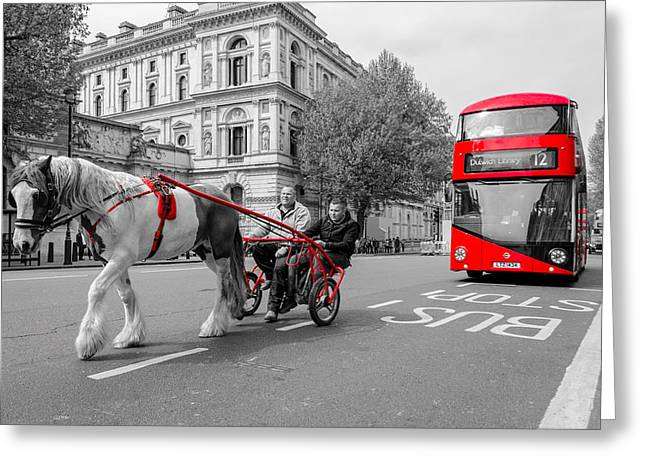 Horse And Cart Greeting Cards - New meets Old Greeting Card by James Evans