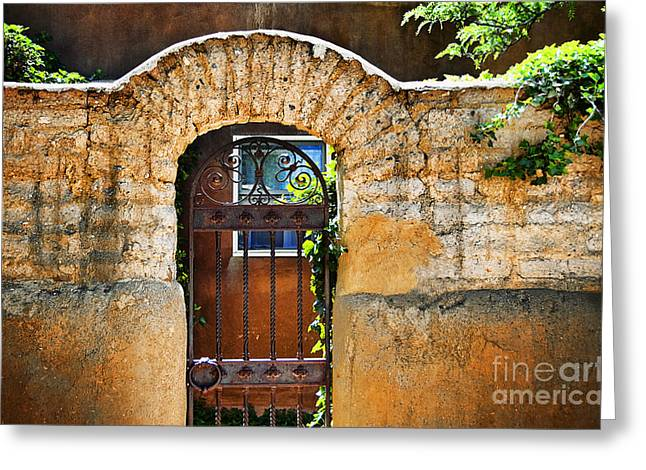 Adobe Greeting Cards - New Mexican Doors Greeting Card by Ray Laskowitz - Printscapes
