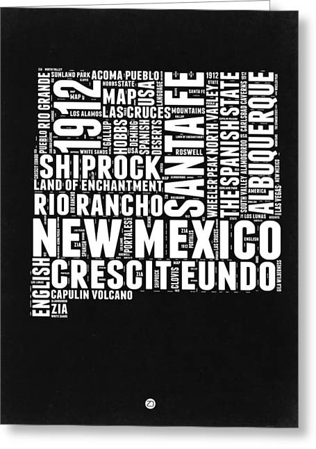 New Mexico Black And White Word Cloud Map Greeting Card by Naxart Studio