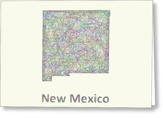 Multicolor Greeting Cards - New Mexico line art map Greeting Card by David Zydd