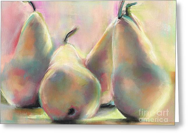 Food And Beverage Pastels Greeting Cards - New Mexico Pears Greeting Card by Frances Marino