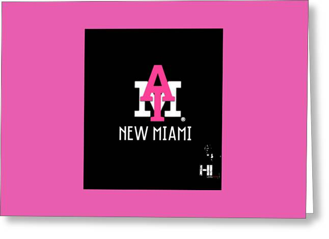 Miami Tapestries - Textiles Greeting Cards - New Miami Pnk Greeting Card by HI Level