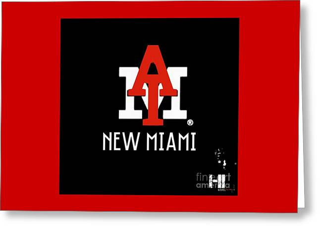 Miami Tapestries - Textiles Greeting Cards - New Miami Red Greeting Card by HI Level