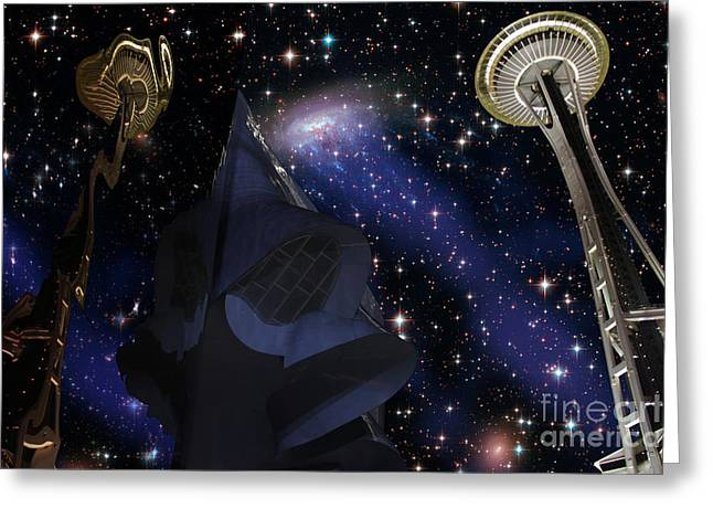 New Night Sky Seattle Greeting Card by Laura McPherson
