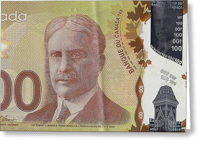 New One Hundred Canadian Dollar Bill Greeting Card by Serge Averbukh