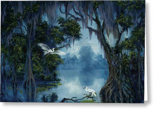 Zydeco Greeting Cards - New Orleans City Park Blue Bayou Greeting Card by Saundra Bolen Samuel
