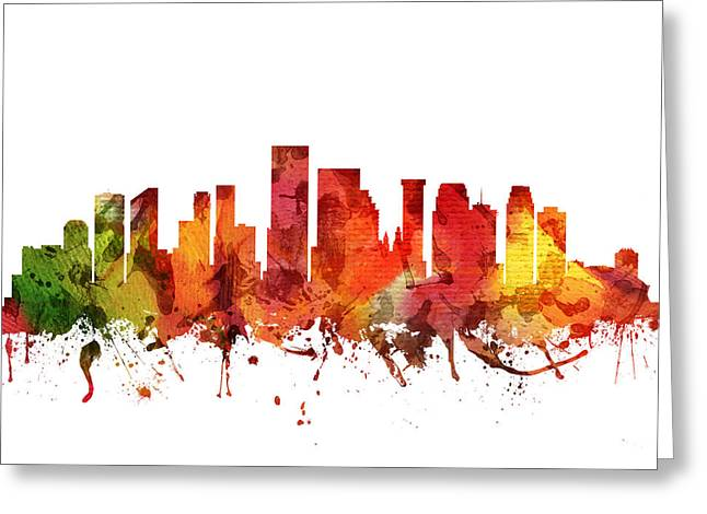 Louisiana Drawings Greeting Cards - New Orleans Cityscape 04 Greeting Card by Aged Pixel