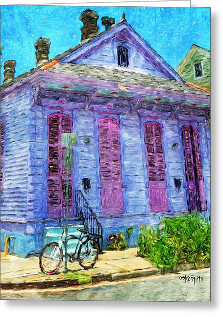 Double Bicycle Greeting Cards - New Orleans Colorful House Bicycle Greeting Card by Rebecca Korpita