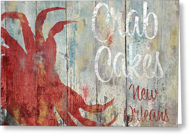 Gumbo Greeting Cards - New Orleans Crab Cakes Greeting Card by Mindy Sommers