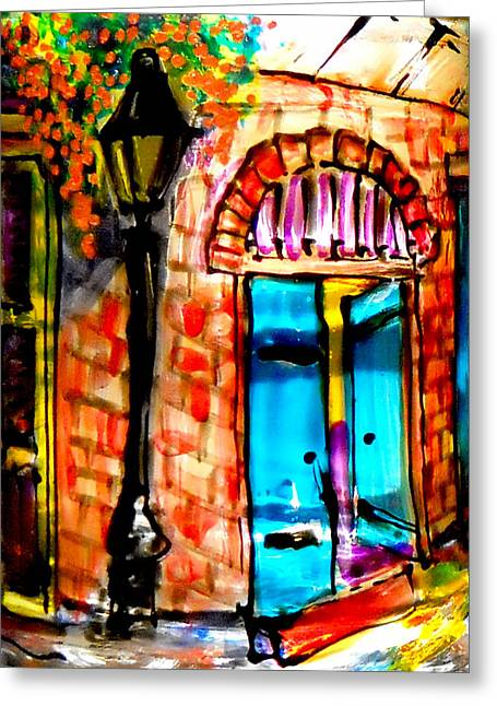 New Glass Art Greeting Cards - New Orleans French Quarter Greeting Card by Deborah jordan Sackett