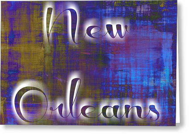 New Orleans Ghostly Typography Greeting Card by Susan Bordelon