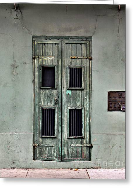 French Door Greeting Cards - New Orleans Green Doors Greeting Card by Perry Webster