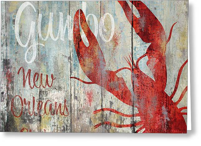 Painted Wood Paintings Greeting Cards - New Orleans Gumbo Greeting Card by Mindy Sommers