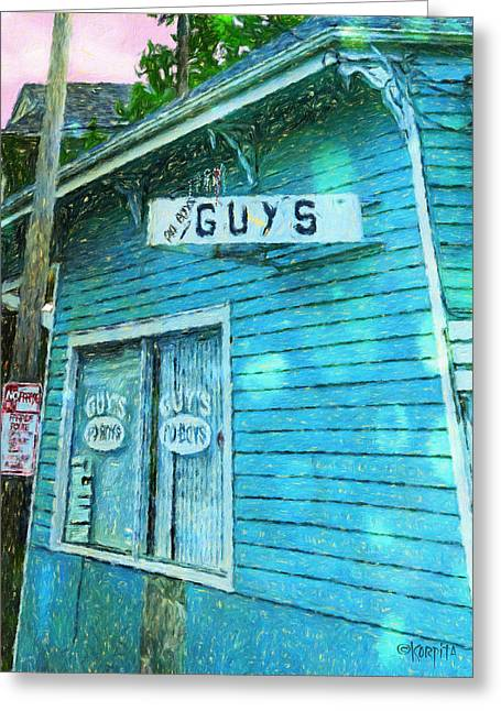 Sunset Greeting Cards Greeting Cards - New Orleans Guys Po-Boys Colorful House Greeting Card by Rebecca Korpita
