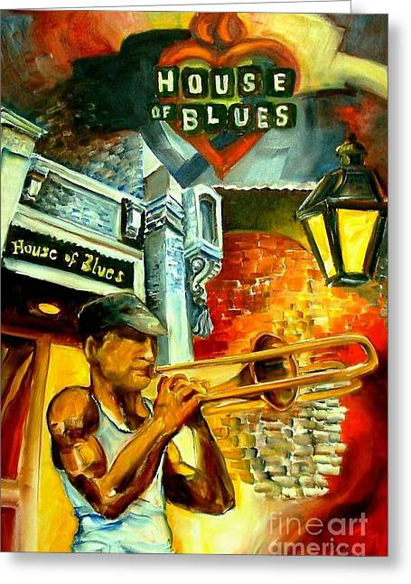 Color Poster Greeting Cards - New Orleans House of Blues Greeting Card by Diane Millsap