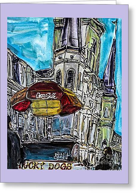 Lucky Dogs Paintings Greeting Cards - New Orleans in The Square Greeting Card by Paula   Baker