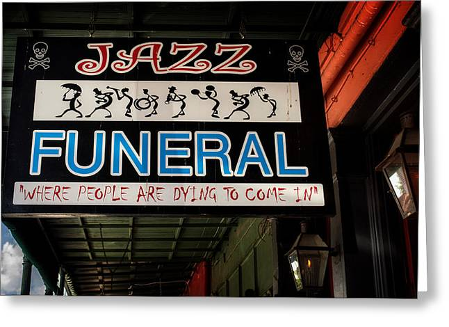 New Orleans Jazz Funeral Sign Greeting Card by Chrystal Mimbs