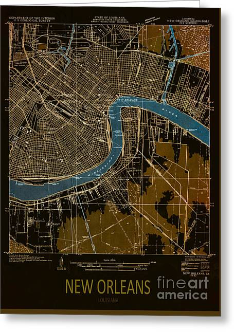 Printed Greeting Cards - New Orleans Map 1932 Greeting Card by Pablo Franchi