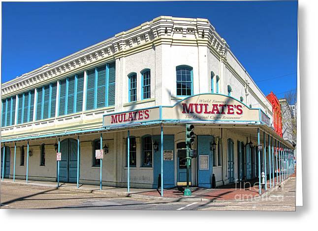 New Orleans Mulate's Greeting Card by Olivier Le Queinec