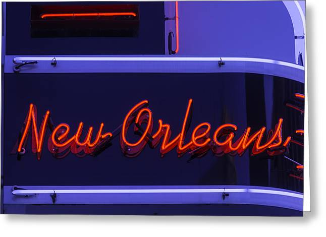 Nola Photographs Greeting Cards - New Orleans Neon Greeting Card by Garry Gay