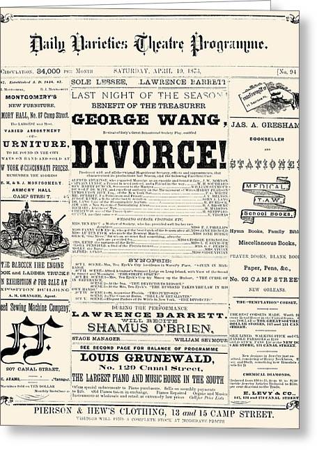 Divorce Greeting Cards - New Orleans: Newspaper Greeting Card by Granger