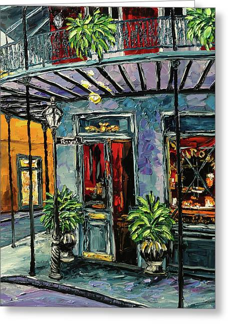 Royal Street Greeting Cards - New Orleans Oil Painting Greeting Card by Beata Sasik