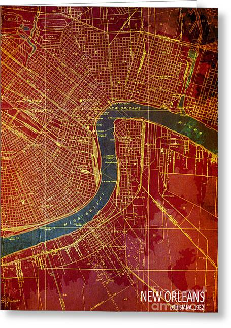 New Orleans Old Map 1932 Greeting Card by Pablo Franchi