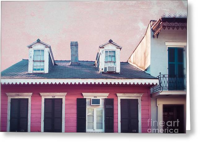 New Orleans Pink Greeting Card by Sonja Quintero