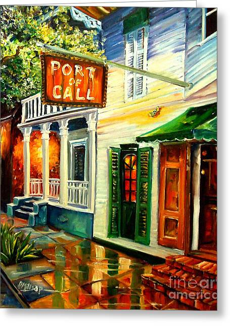 City Buildings Paintings Greeting Cards - New Orleans Port of Call Greeting Card by Diane Millsap