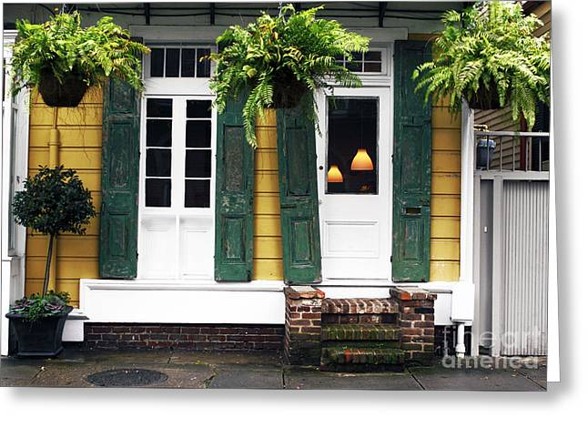 Old School House Greeting Cards - New Orleans Row House Greeting Card by John Rizzuto