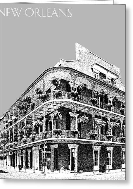 Pen Greeting Cards - New Orleans Skyline French Quarter - Silver Greeting Card by DB Artist