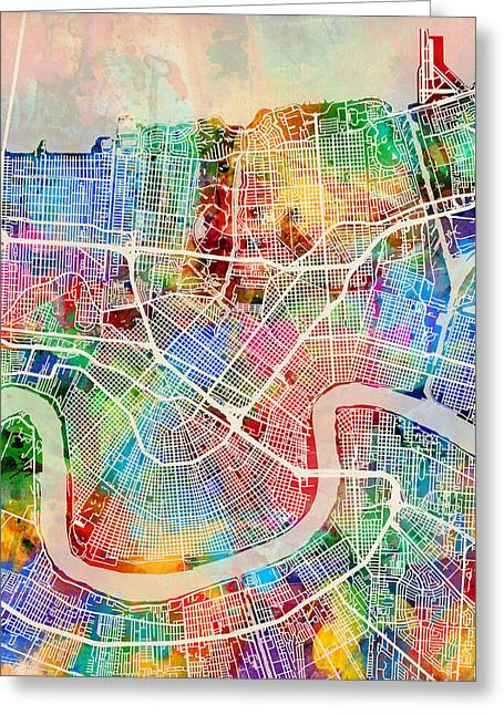 New Orleans Street Map Greeting Card by Michael Tompsett