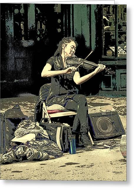 New Orleans Street Performer - Vagabond Virtuoso  Greeting Card by Rebecca Korpita