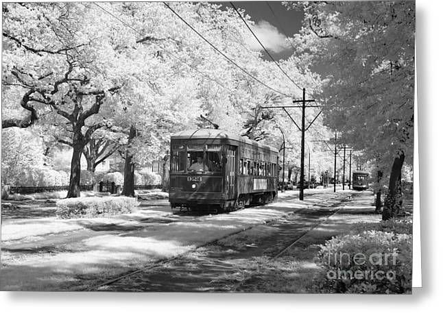 Powerline Greeting Cards - New Orleans: Streetcar Greeting Card by Granger