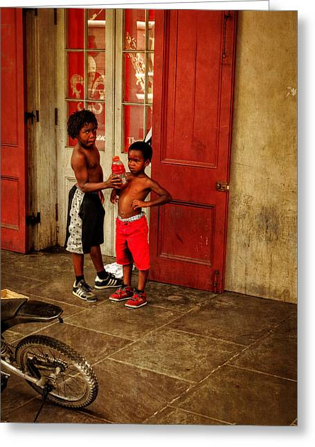 French Doors Greeting Cards - New Orleans Tap Dancers Greeting Card by Chrystal Mimbs