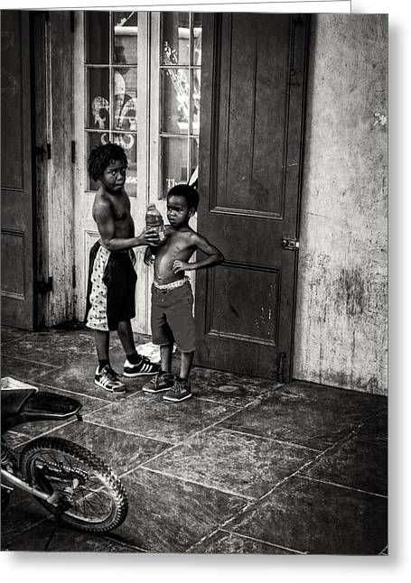 French Doors Greeting Cards - New Orleans Tap Dancers in Black and White Greeting Card by Chrystal Mimbs