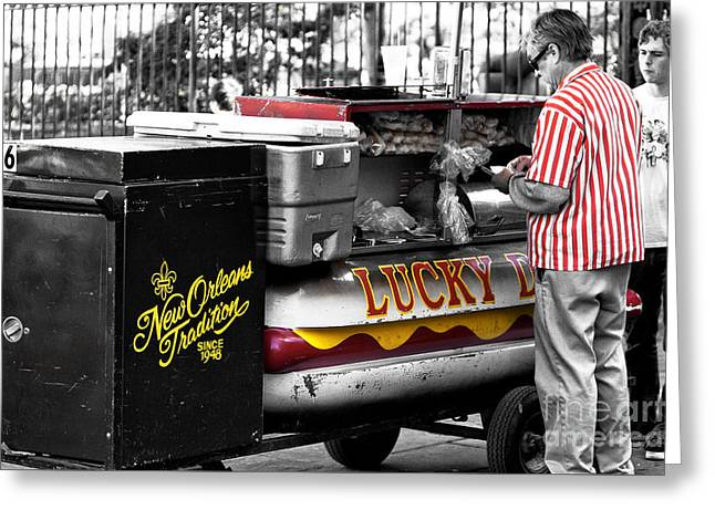 Lucky Dogs Photographs Greeting Cards - New Orleans Traditions Fusion Greeting Card by John Rizzuto