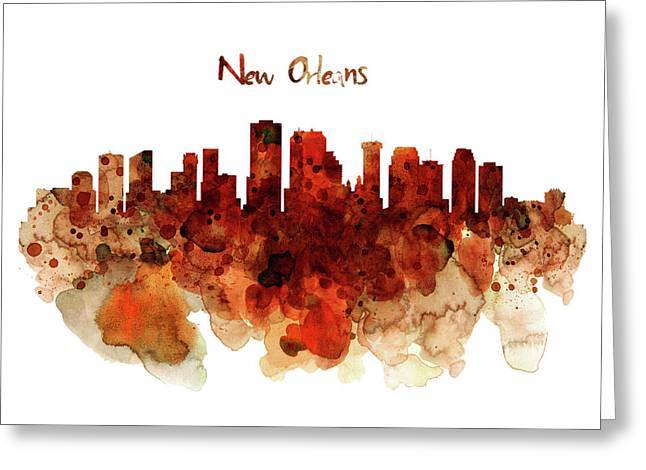 Louisiana Greeting Cards - New Orleans watercolor skyline Greeting Card by Marian Voicu