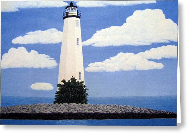 Lighthouse Greeting Cards - New Point Comfort Lighthouse 22x30 Greeting Card by Frederic Kohli