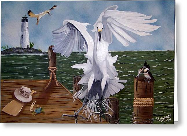 Gannet Greeting Cards - New Point Egret Greeting Card by Debbie LaFrance