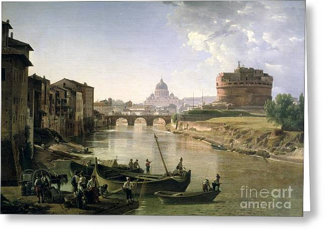 River Boat Greeting Cards - New Rome with the Castel Sant Angelo Greeting Card by Silvestr Fedosievich Shchedrin