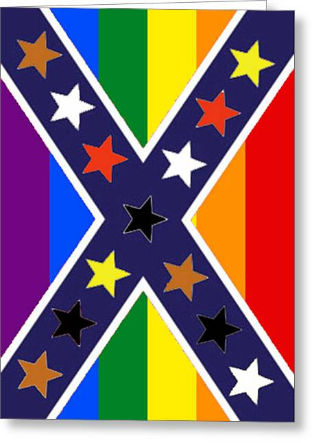 Confederate Flag Greeting Cards - New South Flag vertical Greeting Card by Steve Caunce