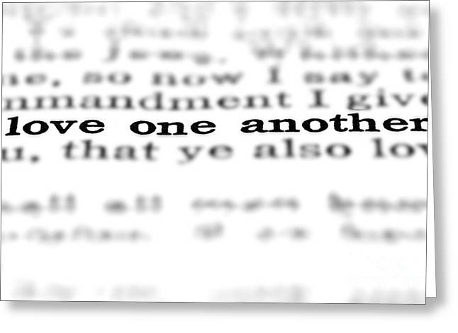 Gospel Greeting Cards - New Testament Scripture Quote Love One Another Greeting Card by Lane Erickson